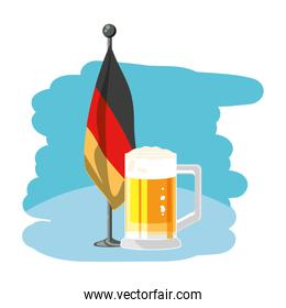 jar of beer with germany flag in pole oktoberfest festival