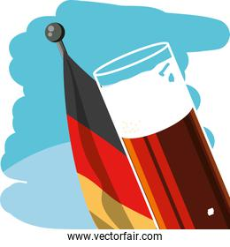 glass of beer with germany flag in pole oktoberfest