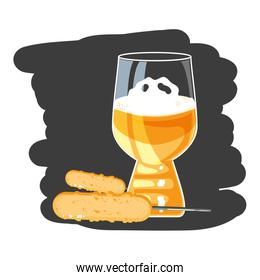 cup of beer with broaster sausages oktoberfest festival