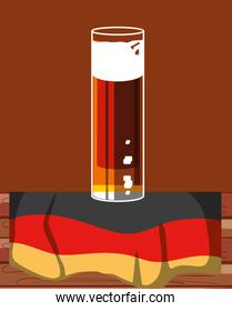 glass of beer with germany flag oktoberfest icon