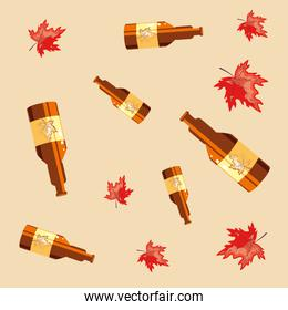 bottles beers oktoberfest pattern background