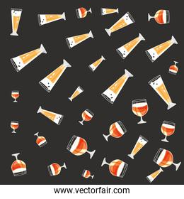 glass and cups of beers oktoberfest pattern background