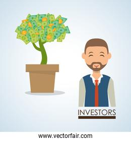 Management design. Person icon. Isolated illustration