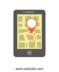 GPS concept. Smartphone and mark icon. Vector graphic