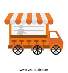Fast and Street food concept. Eating outside. truck icon. Vector