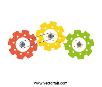 Process and Solution concept. gear icon. Vector graphic