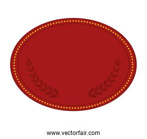 Oval shape with points and wreath design,  vector graphic