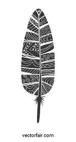 Bohemic draw concept. Feather icon. vector graphic
