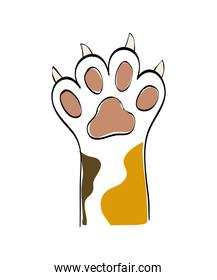 Cat concept. animal foot  icon. vector graphic