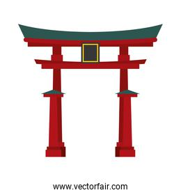 traditional architecture design. Japan culture over white