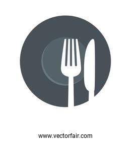 fork and knife icon. Cutlery and menu. vector graphic