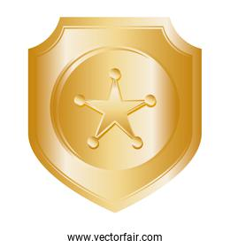 Gold star icon. Justice and law. vector graphic
