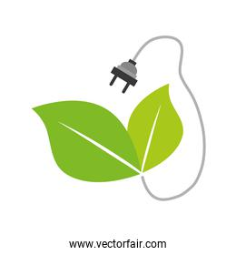 Plug and leaf  icon. Save energy design. Vector graphic