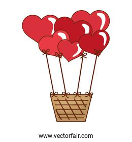 Hot air balloon with hearts icon. Love design. Vector graphic