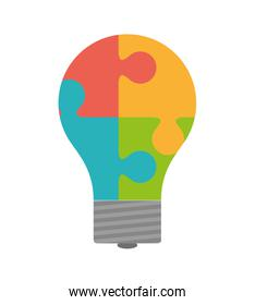 Puzzle and light bulb icon. Piece of game design. Vector graphic