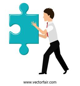 Puzzle and businessman icon. Piece of game design. Vector graphic