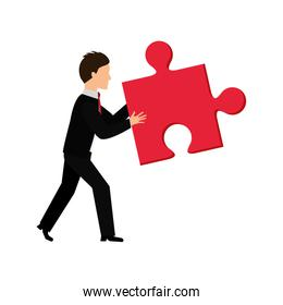 Puzzle and businessman icon. Piece of game design