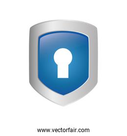 Padlock and shield icon. Security system design. Vector graphic
