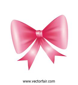 Pink bowtie icon. Ribbon design. Vector graphic