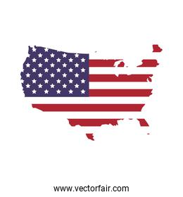 Map icon. USA flag. Vector graphic