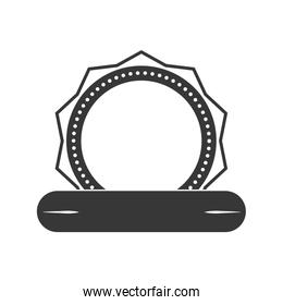 Seal stamp with ribbon icon. Label and banner design. Vector gra