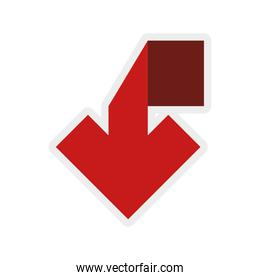 red arrow icon. Direction design over white