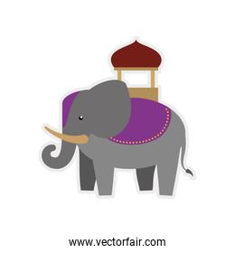Elephant as Sacred animal icon. Indian Culture design. Vector gr