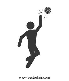 Volleyball and pictogram icon. Sport concept. Vector graphic