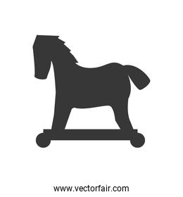 Wood horse icon. Toy design. Vector graphic