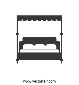 bed silhouette icon. Resting and sleep design. Vector graphic