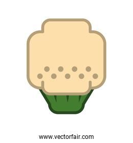 Pixel broccoli icon. Healthy food design. Vector graphic