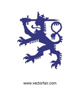 Heraldic lion icon. Insignia design. Vector graphic