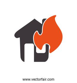 House on fire icon. Insurance and protection design. Vector grap