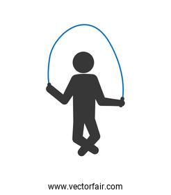 Pictogram jumping with rope icon. Person doing action design. Ve