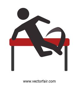 Pictogram jumping icon. Person doing action design. Vector graph