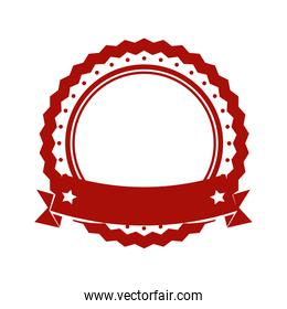Seal stamp with ribbon icon. Label design. Vector graphic