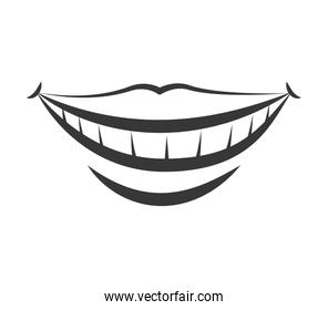 Mouth and smile icon. Part of boby design. Vector graphic