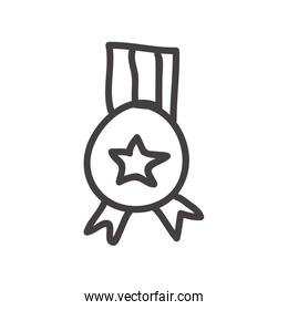 Medal icon. Sketch design. Vector graphic