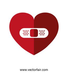 Bandage and Heart shape icon. Love design. Vector graphic