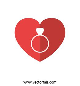 Ring and heart icon. Love design. Vector graphic