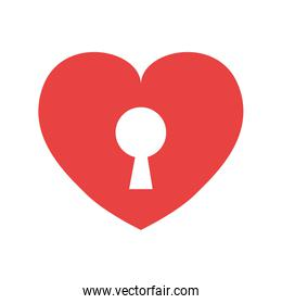 Padlock and heart shape icon. Love design. Vector graphic