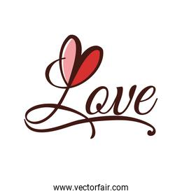 Heart shape and text icon. Love design. Vector graphic