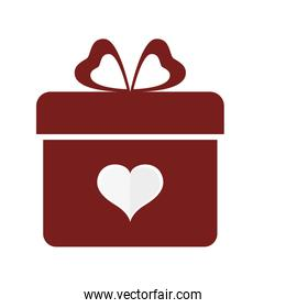 Gift and heart shape icon. Love design. Vector graphic