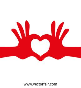 Hand and heart icon. Love design. Vector graphic
