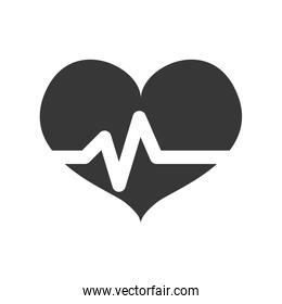 Pulse and Heart shape icon. Love design. Vector graphic
