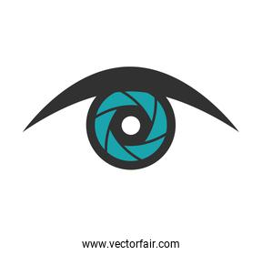 Shutter and eye icon. Camera design. Vector graphic