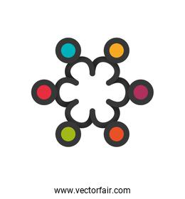 Teamwork icon. Abstract people and support design. Vector graphi