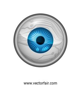 Blue eye icon. View and look design. Vector graphic