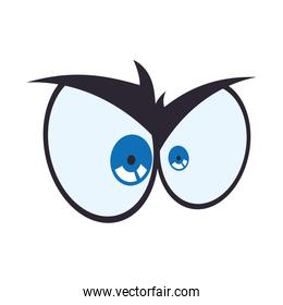 Angry cartoon eye icon. View and expression design. Vector graph