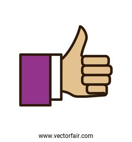 thumbs up hand finger gesture palm icon. Vector graphic